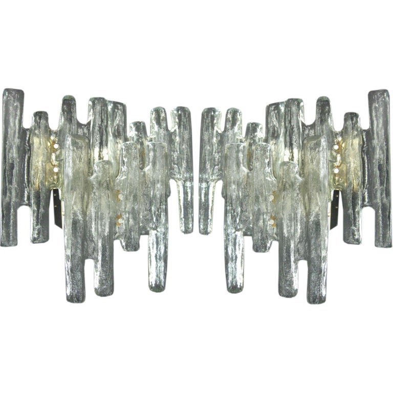 Pair of Murano 'Ice Glass' Wall Sconces by Mazzega