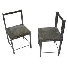 Pair of Conceptual Steel Side or Desk Chairs Attributed to Robert Wilson