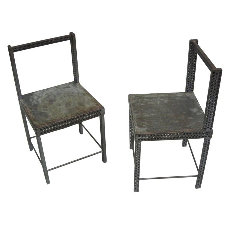Pair of Conceptual Steel Side or Desk Chairs Attributed to Robert Wilson For Sale