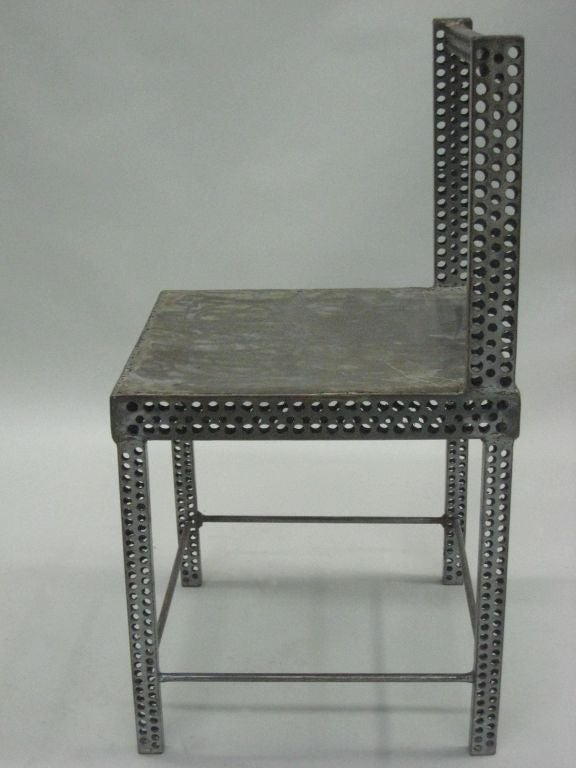 Modern Pair of Conceptual Steel Side or Desk Chairs Attributed to Robert Wilson For Sale