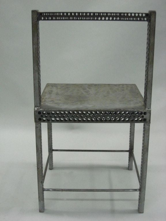 Italian Pair of Conceptual Steel Side or Desk Chairs Attributed to Robert Wilson For Sale