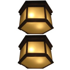 Four Large Solid Brass Hexagonal Fixtures in the Manner of Jacques Quinet