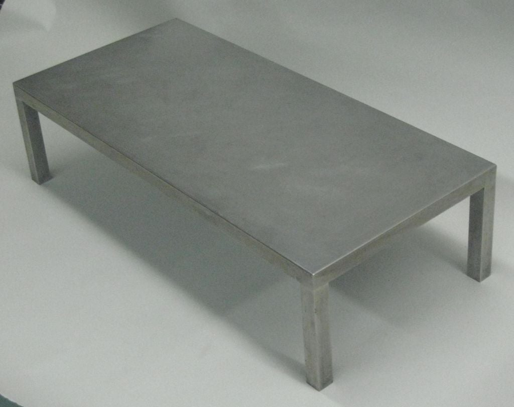 French Mid Century Modern Matt Stainless Steel Coffee Table Maria Pergay 1970 For Sale At 1stdibs