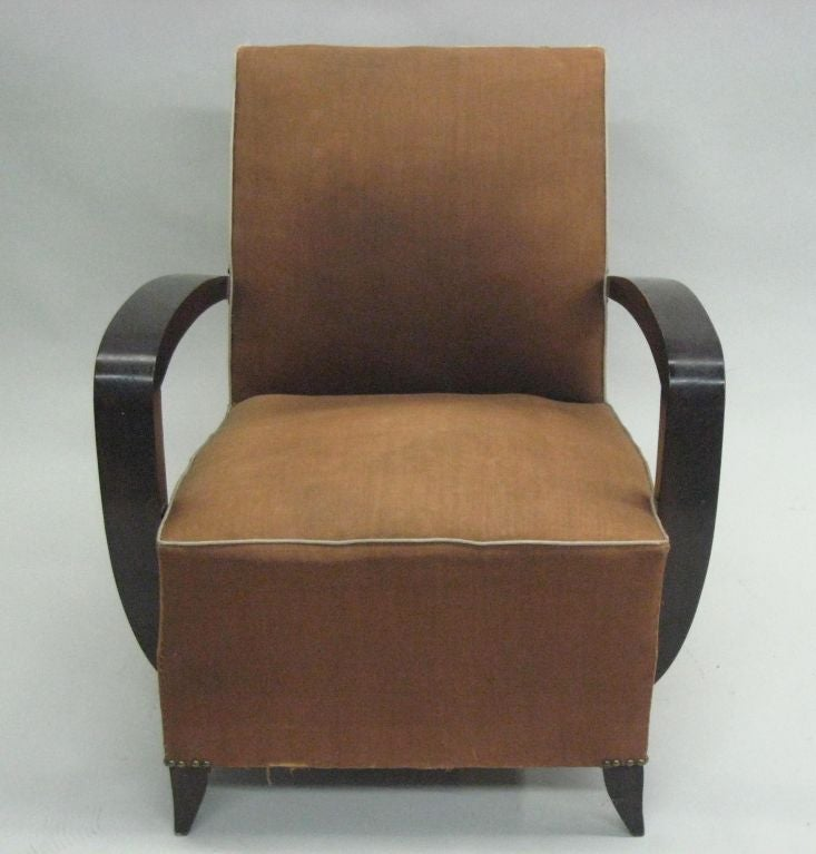 Art Deco Pair of French Mid-Century Modern Lounge / Club Chairs Attributed to Rene Prou For Sale