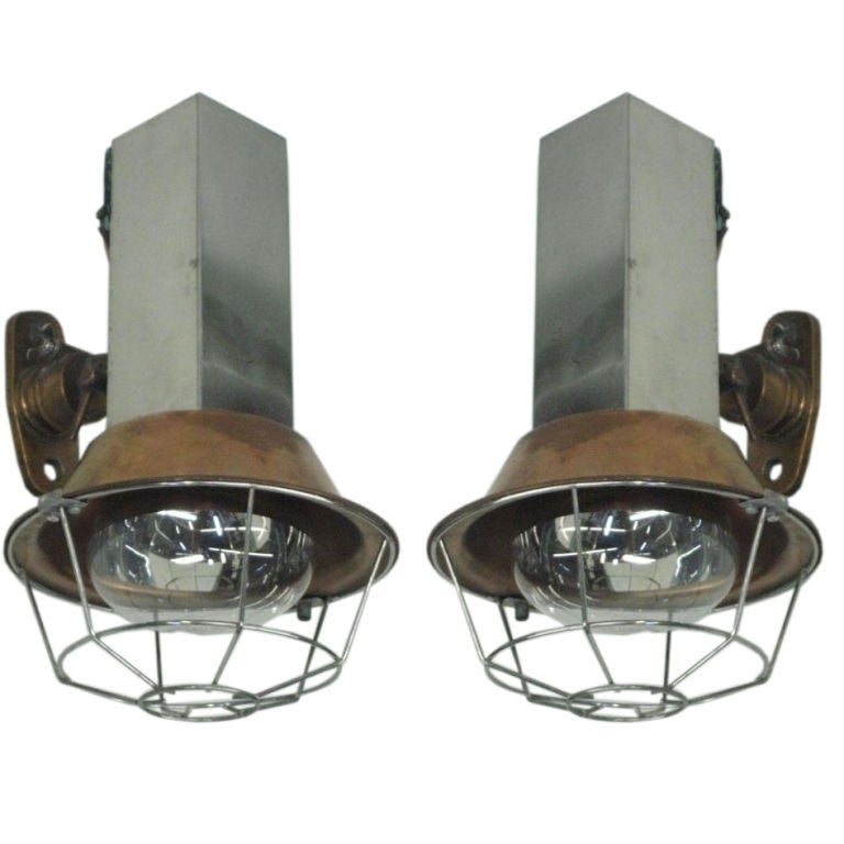 Pair of French Industrial Wall Lights or Sconces For Sale