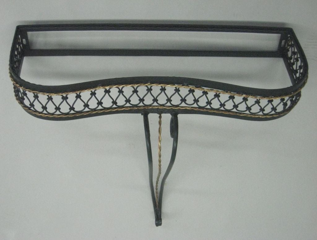 French Mid-Century Partially Gilt Wrought Iron Wall Console Attr. to Rene Prou For Sale 1