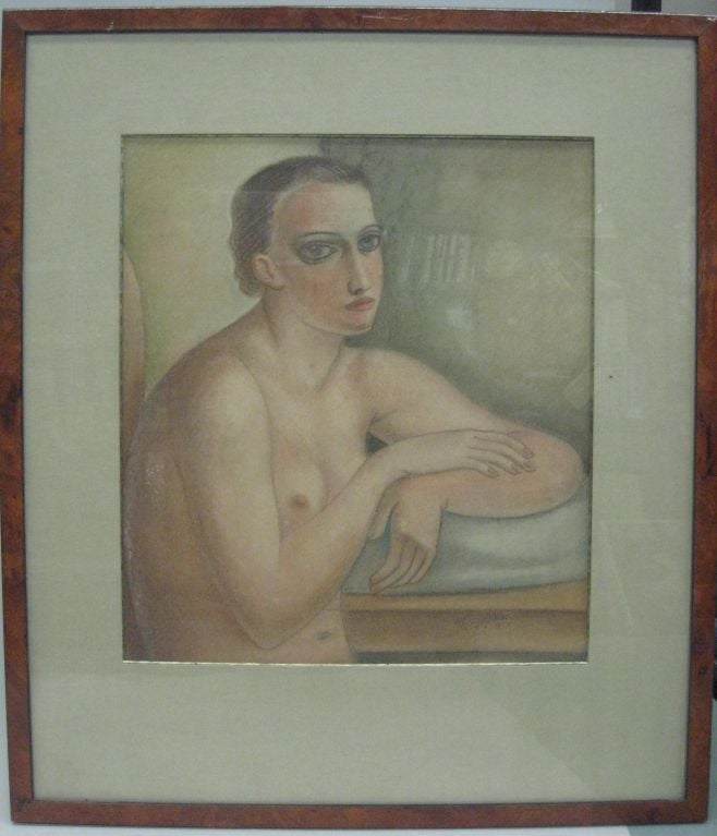 Pastel / painting of an Androgenous Nude by Edgar Scauflaire (Belgium,1893-1960). Signed on lower right and dated, 1944. Unframed dimensions: 18 x 15