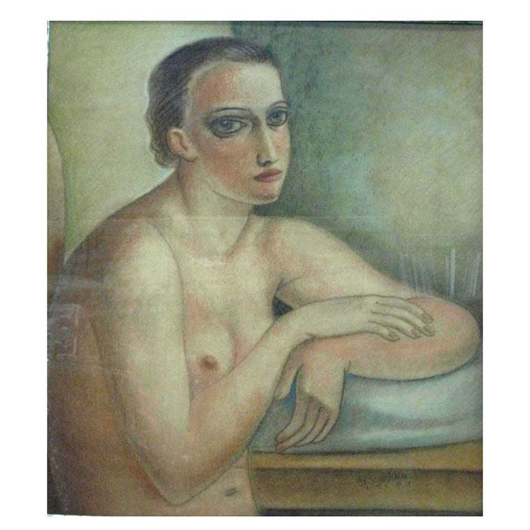 Androgenoous Nude Painting by Edgar Scauflaire For Sale