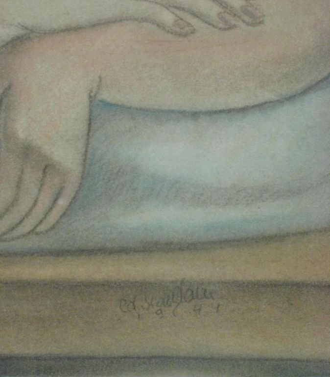 Art Deco Androgenoous Nude Painting by Edgar Scauflaire For Sale