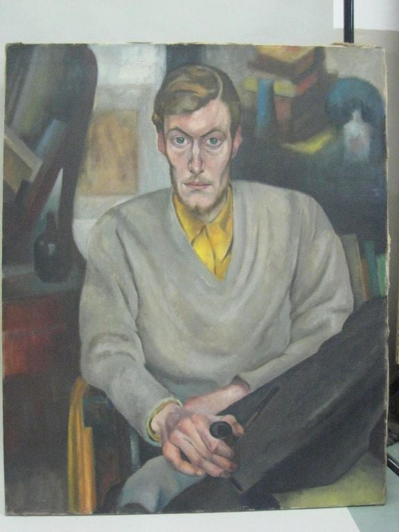 Oil on canvas, painting by Hans Speidel (1895-1976): Germany, Signed.   Speidel, opposed the Hitlerian racial laws, and was a proponent of the German movement: Die Neue Sachlickeit (The New Objectivity). New objectivity painters infused a vital