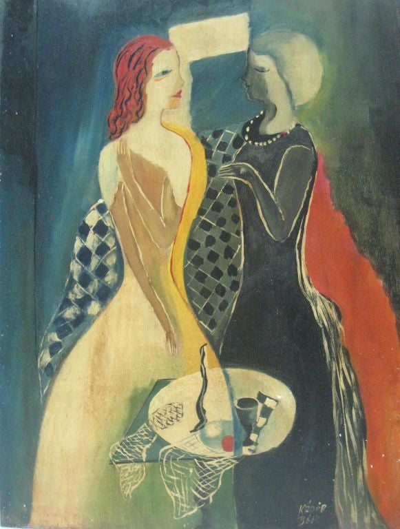 Untitled Painting '2 Women Engaged in Dialogue' by Bela Kadar For Sale