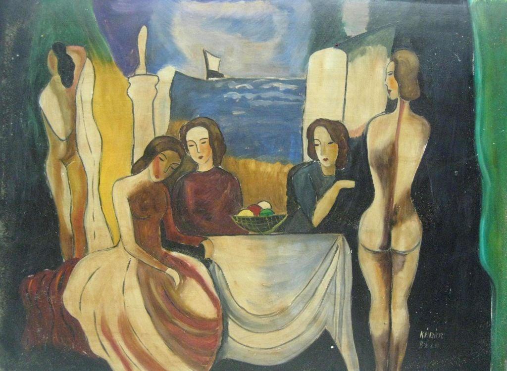 Untitled Seated Women With Nude By Bela Kadar