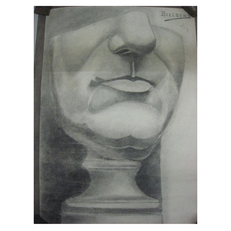 Dramatic 'Neue Sachlichkeit' Anatomical Drawing of the Lower Face by Beeldens For Sale