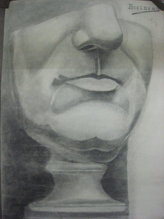 A dramatic anatomical drawing of the lower face by Beeldens, Belgium, 1935.  Signed on upper right. Pencil on paper.  The Neue Sachlichkeit (new matter of fact-ness) sought to lay bare life and people to the most simple elements which bared their