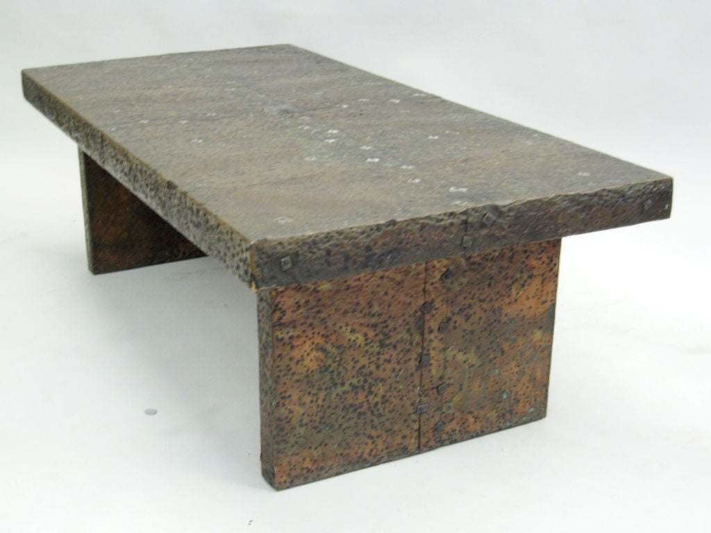 Hand Hammered Copper Cocktail Table at 1stdibs
