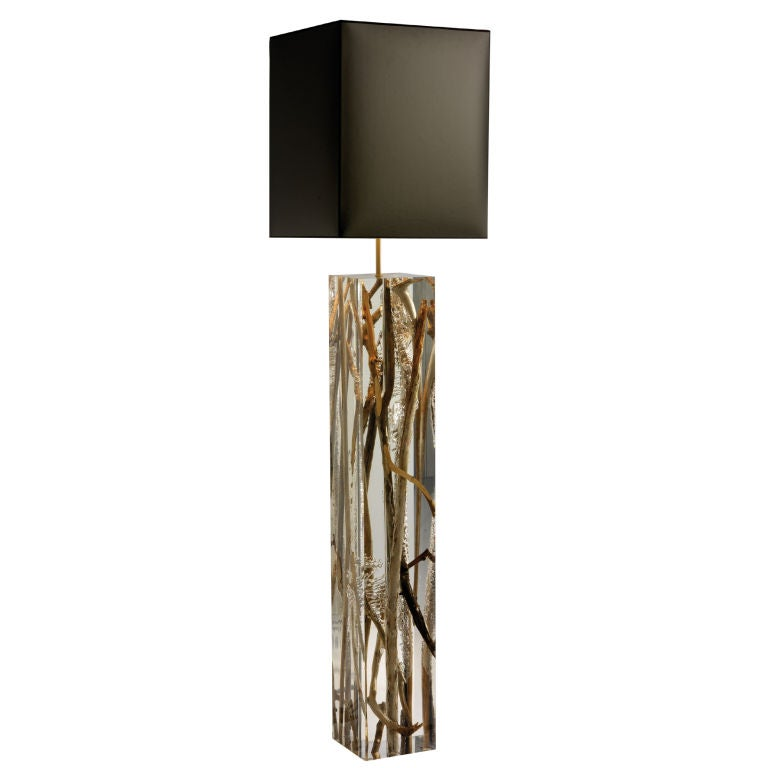 2 pairs of twig and acrylic glass floor lamps at 1stdibs for Twig floor lamp white