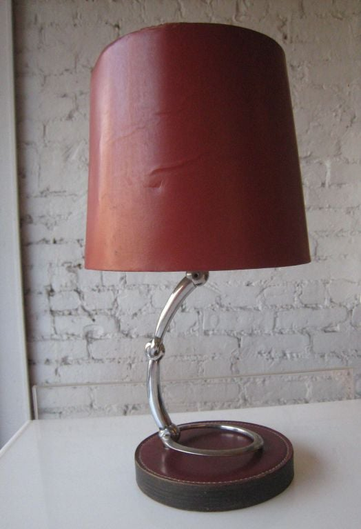 French Mid-Century Modern Neoclassical Leather Desk / Table Lamp by Hermès 2