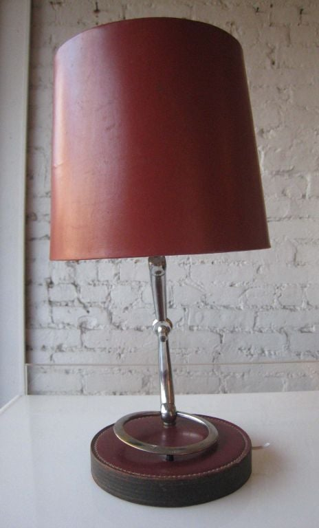 French Mid-Century Modern Neoclassical Leather Desk / Table Lamp by Hermès 3