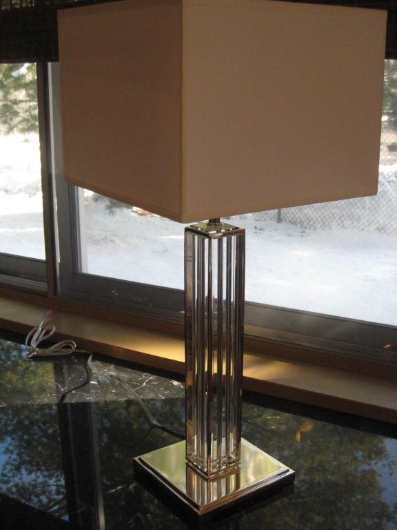 Italian Mid-Century Modern Neoclassical Silver & Crystal Column Table Lamps Pair In Excellent Condition For Sale In New York, NY