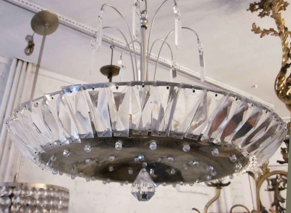 French Mid-Century Modern Neoclassical Nickel and Crystal Chandelier / Pendant For Sale 1