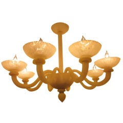 Pair of  White Acid Washed Murano Style Glass Chandeliers