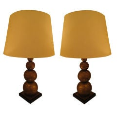 Four Stacked Ball Lamps in Solid Brass