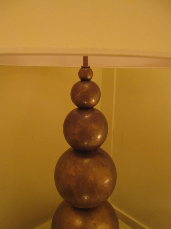 Mid-Century Modern Four Stacked Ball Lamps in Solid Brass For Sale