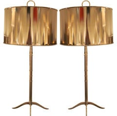 Two Nickeled Table Lamps in the Style of Maison Charles