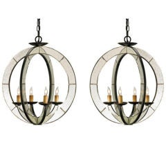 Two Italian Mid-Century Style Spherical Mirrored Pendants