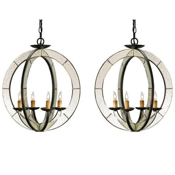 Two Italian Mid-Century Modern Style Spherical Mirrored Pendants For Sale