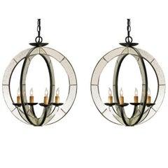 Two Italian Mid-Century Modern Style Astrolabe Mirrored Pendants / Chandeliers