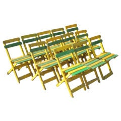 12 Hand-Painted Early Modern Dining / Cafe / Garden Chairs, France 1920