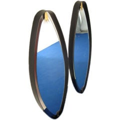 Rare Pair of Italian  Oval Mirrors