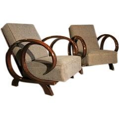 Italian Reclining Wood Armchairs