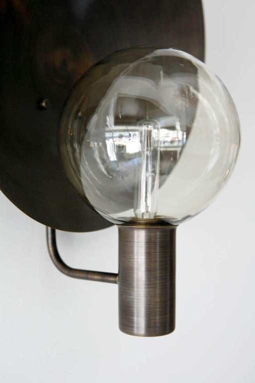 Blown Glass Wall Sconces Lighting : Rewire Custom Brass and Blown Glass Sconce at 1stdibs