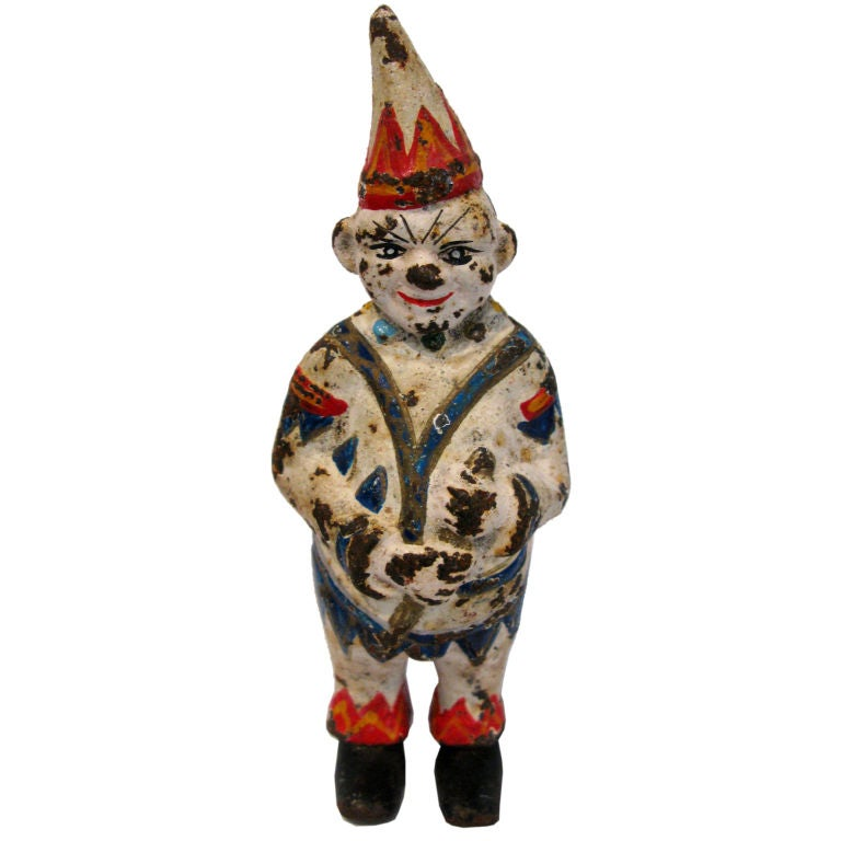 Cast Iron Vintage Clown Bank At 1stdibs