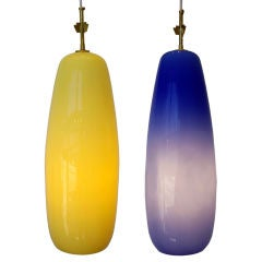 Venini, Pair of Italian Glass Pendant Lights