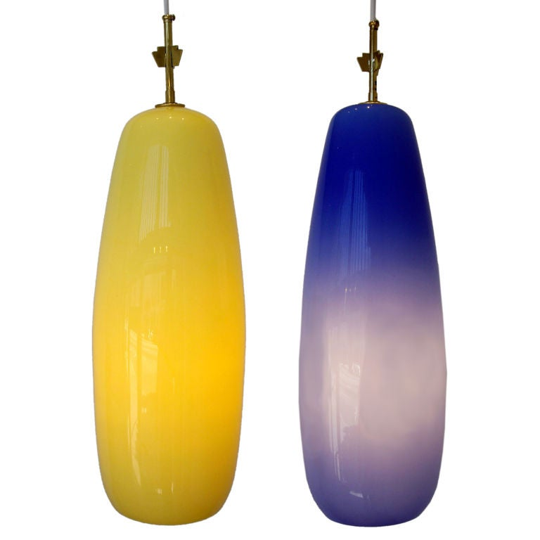 Venini, Pair of Italian Glass Pendant Lights