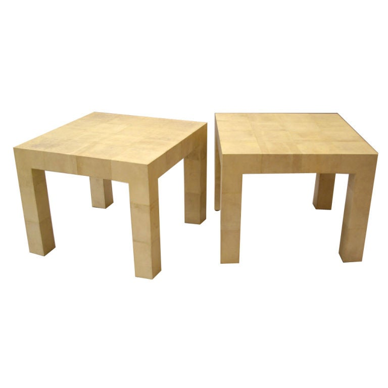 Karl Springer, Pair of Parchment Clad Tables For Sale
