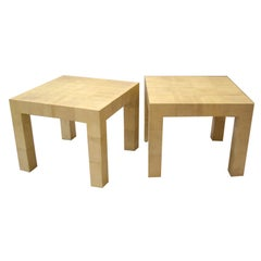 Karl Springer, Pair of Parchment Clad Tables
