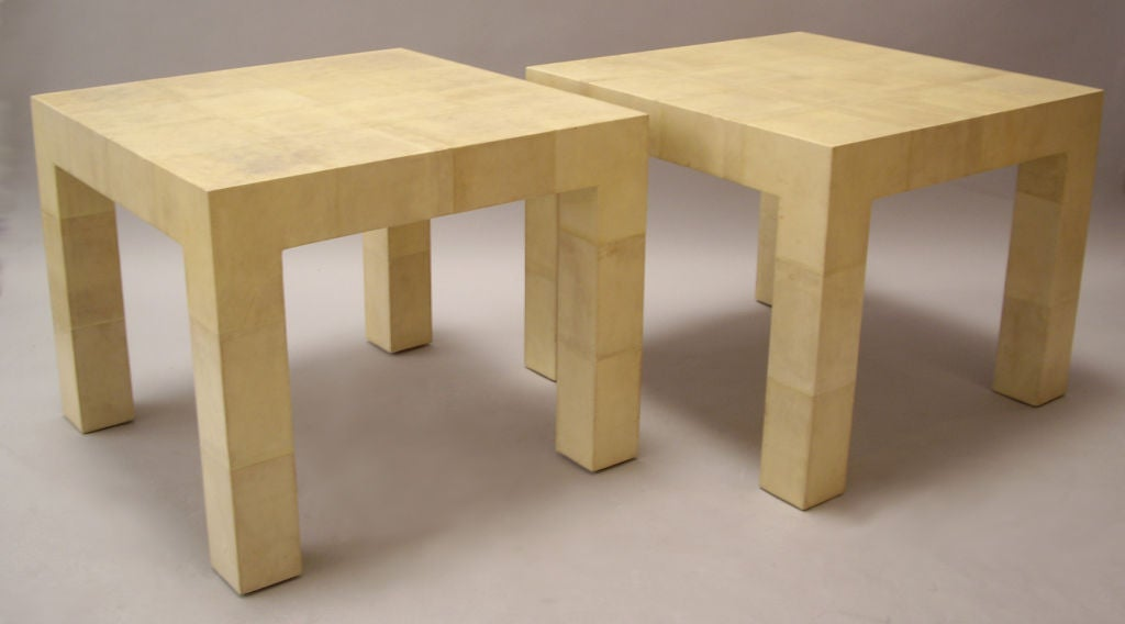 Mid-Century Modern Karl Springer, Pair of Parchment Clad Tables For Sale