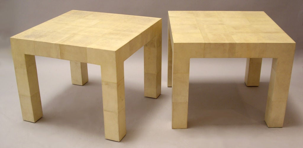 Hand-Crafted Karl Springer, Pair of Parchment Clad Tables For Sale