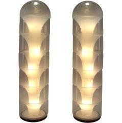 "Carlo Nason (Italian 1936-) Pair of 53"" Glass Floor Lamps"