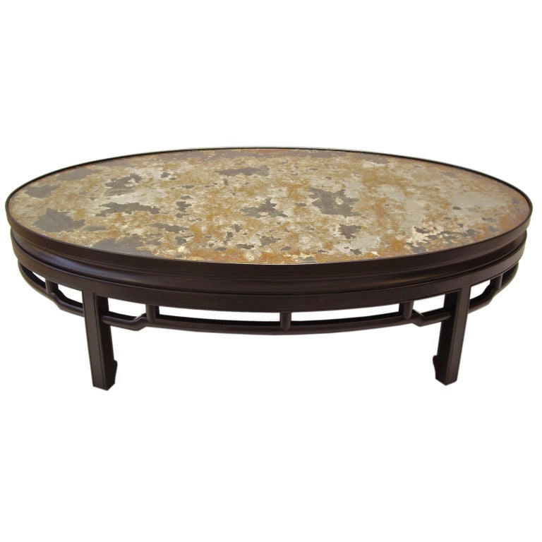 Antique Mirror And Lacquered Wood Coffee Table At 1stdibs