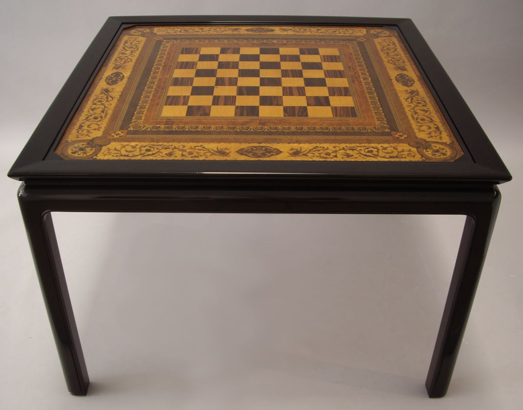 Wood Inlay Top Table Designs : S game table inlaid wood reversible top at stdibs