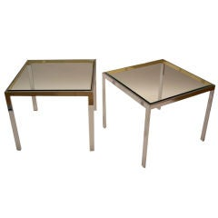 Pair of Polished Chrome and Brass Side Tables