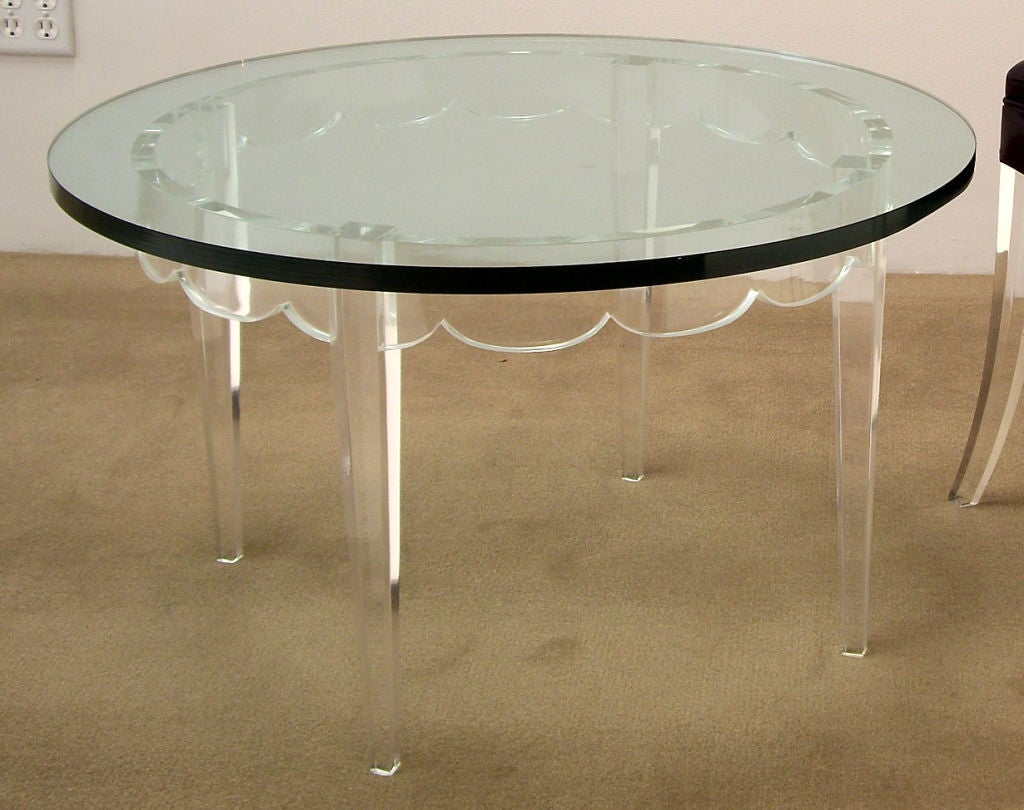 Original Lucite coffee table designed by Loren Jackson for Grosfeld House's 1942 from the Glassic Collection.   Measure: Glass is 3/4