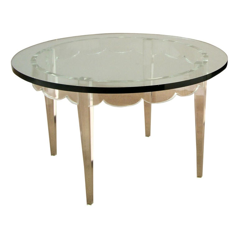 Grosfeld House, 1940s Lucite Table With Glass Top For Sale