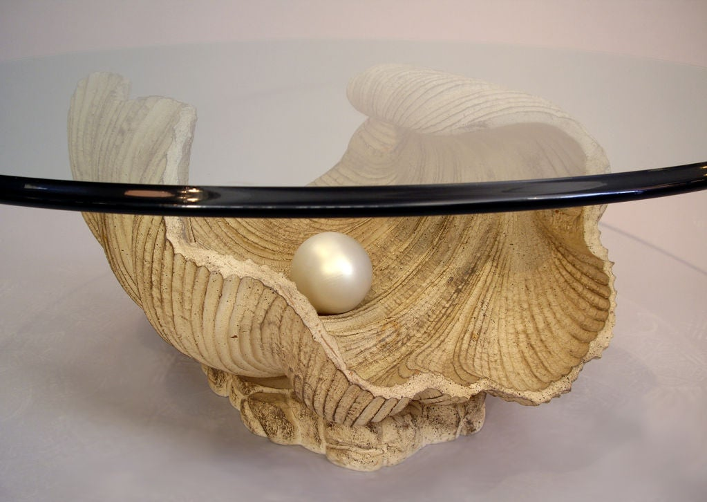 Carved Half Shell with Pearl Coffee Table 2