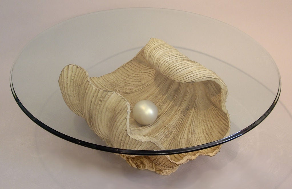 Carved Half Shell with Pearl Coffee Table 3